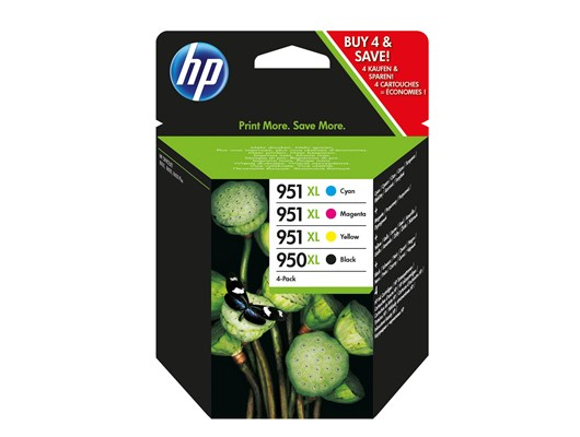 HP 950XL/951XL (Yield: 2,300 Black/1,500 Colour Pages) Black/Cyan/Magenta/Yellow Ink Cartridge Pack of 4