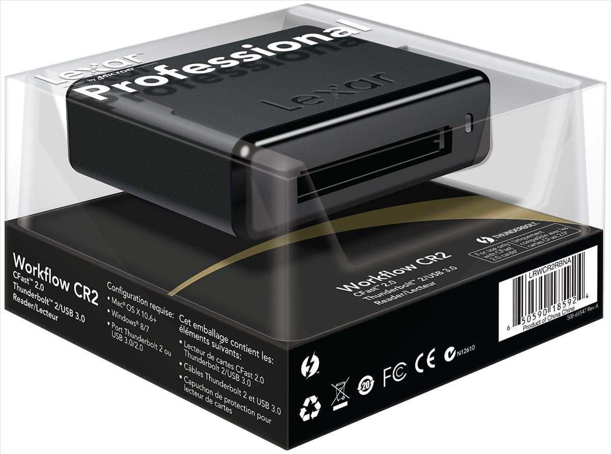 Lexar Professional Workflow CR2 CFast 2 0 Thunderbolt 2/USB 3 0 Reader  (Black)
