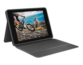 Logitech Rugged Folio Durable Case with Spill-Proof Keyboard (Graphite) UK for iPad 7th Gen