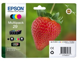 Epson Strawberry 29 T2986 Claria Home Multipack (Black 5.3 ml + Cyan, Magenta, Yellow 3.2 ml) Ink Cartridges (Blister Pack)