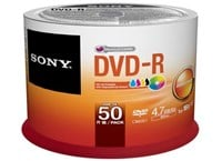 Sony (4.7GB) 120 Minutes 16x Printable DVD-R on Spindle (Orange/White) Pack of 50 Discs