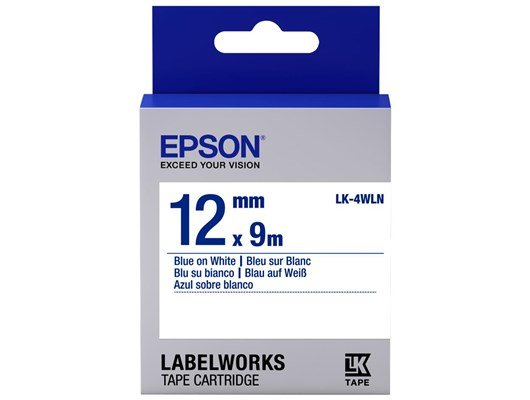 Epson LK-4WLN  (12mm x 9m) Label Cartridge (Blue on White) for LabelWorks Label Makers