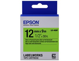 Epson LK-4GBF (12mm x 9m) Label Cartridge (Black on Fluorescent Green) for LabelWorks Label Makers