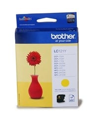 Brother LC121Y (Yield: 300 Pages) Ink Cartridge (Yellow)
