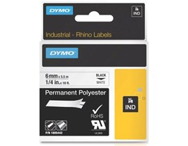 Newell (6mm) Permanent Polyester Tape (Black on White) for Dymo Rhino and Dymo IPL-219 Industrial Label Printers