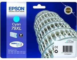 Epson Tower of Pisa 79XL (Yield: 2,000 Pages) High Yield DURABrite Cyan Ink Cartridge