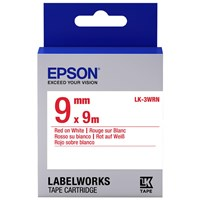 Epson LK-3WRN (9mm x 9m) Label Cartridge (Red on White) for LabelWorks Label Makers