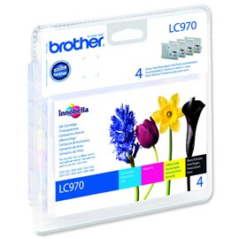 Brother LC970 Value Pack Print Cartridge (Black, Yellow, Cyan, Magenta) Blister Pack