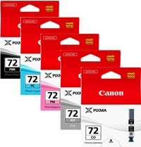 Canon PGI-72 (510 Black/165 Grey/303 Magenta/351 Cyan/165 Clear Photos) Photo Black/Grey/Photo Magenta/Photo Cyan/Chroma Optimiser Ink Cartridge Pack of 5 *Open Box*