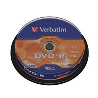 Verbatim (4.7GB) DVD-R 16x Matt Silver Spindle Pack of 10