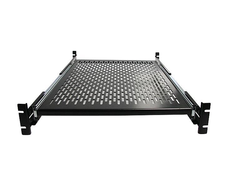 19 inch vented adjustable depth sliding server rack cabinet shelf black. Black Bedroom Furniture Sets. Home Design Ideas