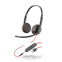 Plantronics Blackwire 3225 USB-A Corded UC Stereo Headset (Black) with Microphone
