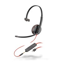 Plantronics Blackwire 3215 USB-C Corded UC Monaural Headset (Black) with Microphone