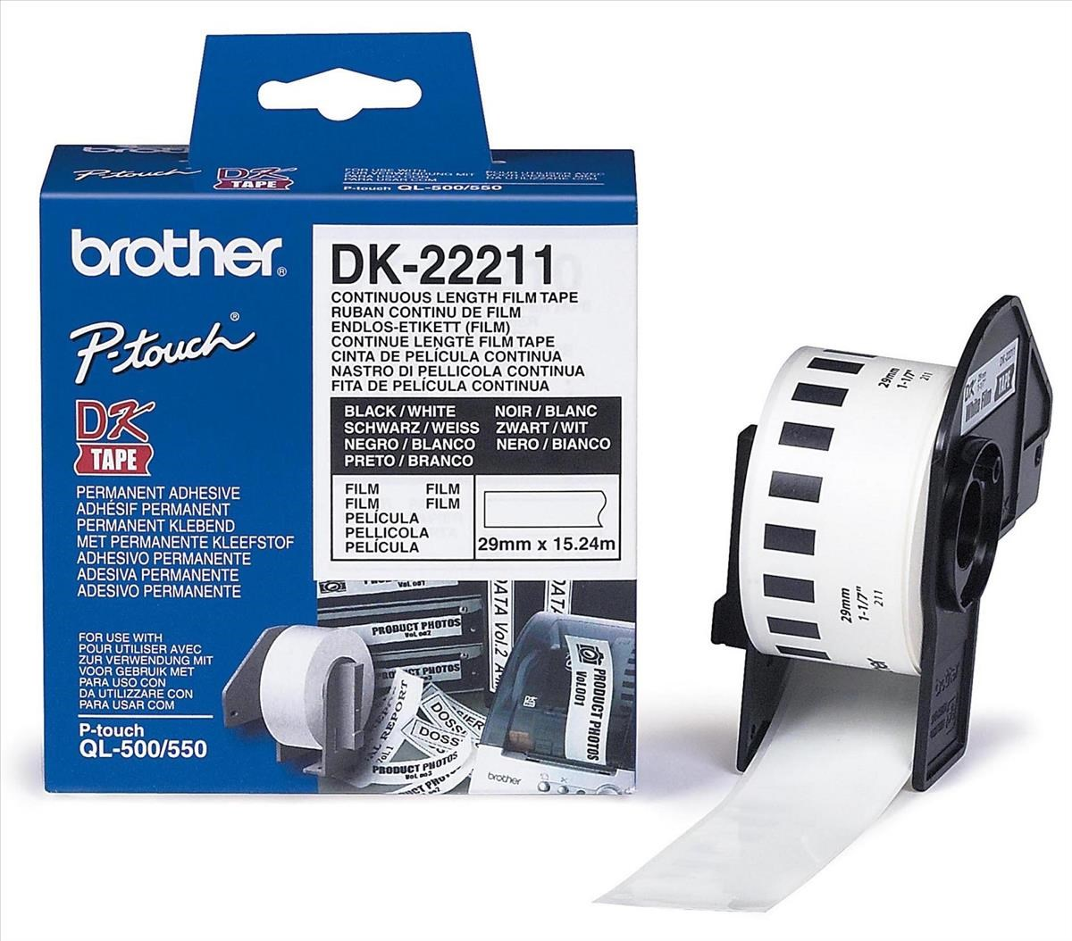 Brother Dk Labels 22211 29mm X 152m Continuous White Film Tape Label Tze S241 18mm Black On