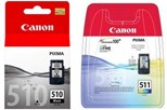 Canon Multi Pack PG-510 (Black) - (Yield 200 Pages) + CL-511 (Colour) - (Yield 244 Pages) Ink Cartridges (1 x Set of 2 Colours)