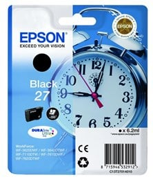 Epson Alarm Clock 27 DURABrite Ultra Ink Cartridge (Black) Blister for WorkForce WF-3620DWF/WF-7610DWF/WF-3640DTWF/WF-7620DTWF/WF-7110DTW Printers