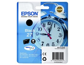 Epson Alarm Clock 27 (6.2 ml) DURABrite Ultra Ink Cartridge (Black) Blister with RF Alarm for WorkForce WF-3620DWF/WF-7610DWF/WF-3640DTWF/WF-7620DTWF/WF-7110DTW Printers