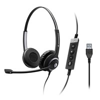 Sennheiser SC 260 USB S II Double-Sided Wired Headset with Noise-Cancelling Microphone for Skype/Business