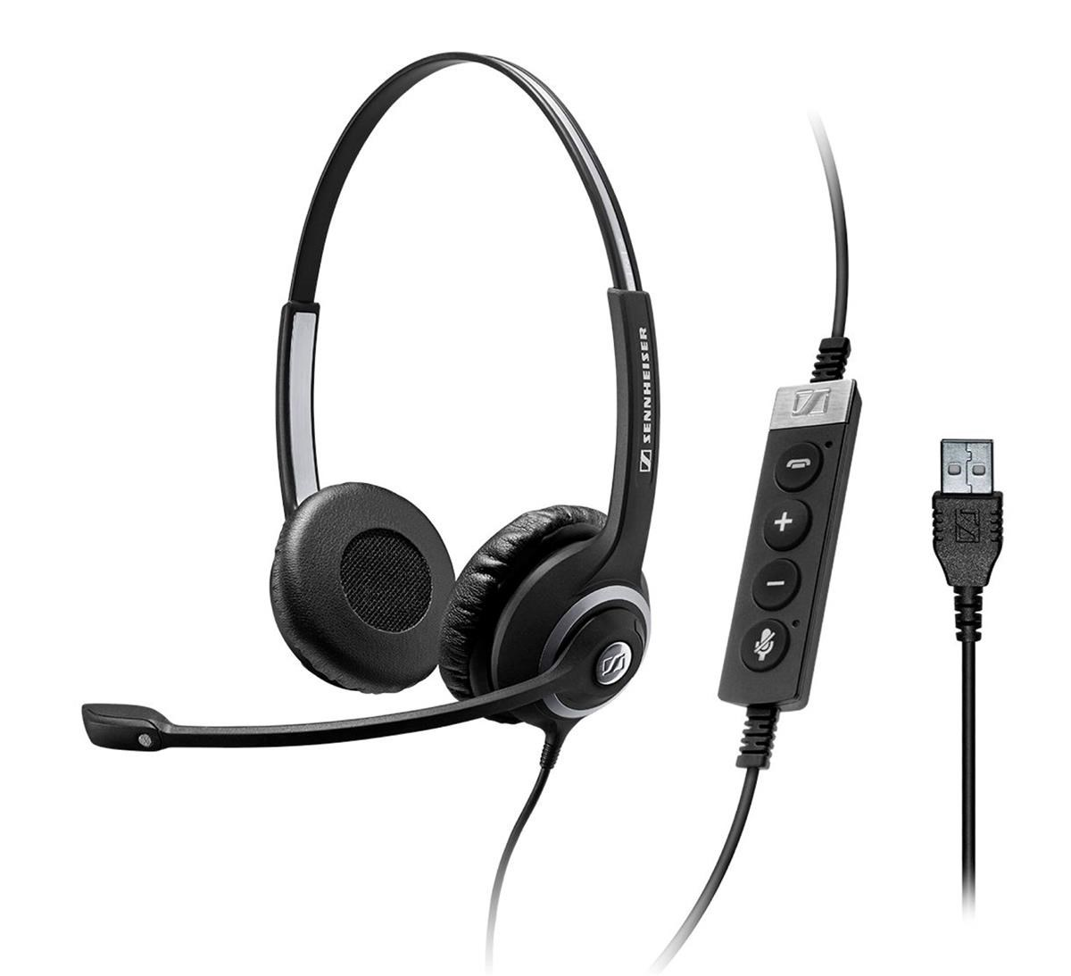2fc2a2aec82 Sennheiser SC 260 USB CTRL II Wired Dual-Sided Headset with  Noise-Cancelling Microphone