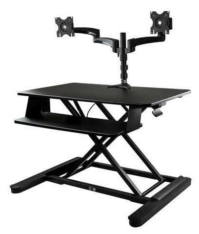 StarTech.com Sit-Stand Desk Converter with 35 inch Work Surface and Dual Monitor Arm