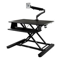 StarTech.com Sit-Stand Desk Converter with 35 inch Work Surface and Articulating Monitor Arm