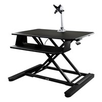StarTech.com Sit-Stand Desk Converter with 35 inch Work Surface and Single Monitor Arm