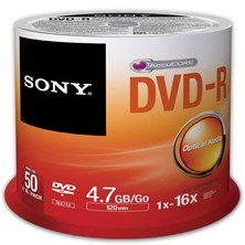 Sony (4.7GB) 120 Minutes 16x DVD-R on Spindle (Orange/White) Pack of 50 Discs *Open Box*