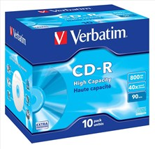 Verbatim CD-R 40x 800MB 90min Hi Capacity Jewel Case (10 Pack)