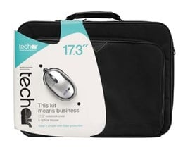 Bundle: Techair Business Notebook Case (Black) for 17.3 inch Notebook & Optical 800 dpi Mouse (Silver/Black)