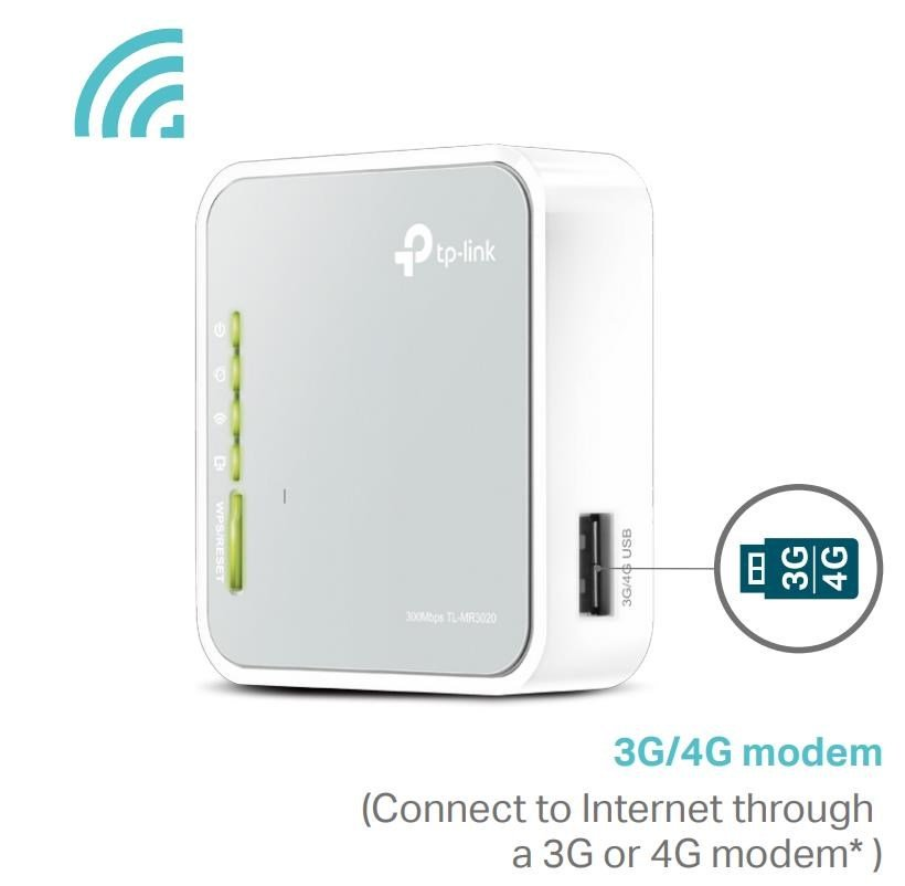 TP-Link Portable 3G/4G 300Mbps Wireless N Router (White/Grey) - V3 0