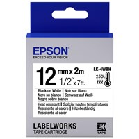 Epson LK-4WBH (12mm x 2m) Heat Resistant Label Cartridge (Black on White) for LabelWorks Label Makers