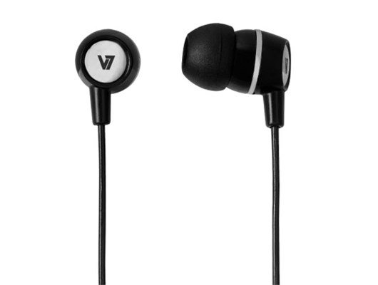 V7 Stereo Earbuds with Inline Microphone (Black)
