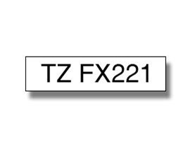 Brother P-touch TZe-FX221 (9mm x 8m) Black On White Laminated Flexi Labelling Tape