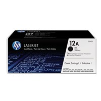 Bundle: HP 12A (Yield: 2,000 Pages) Black Toner Cartridge Pack of 2