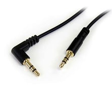 StarTech.com (1 feet) Slim 3.5mm to Right Angle Stereo Audio Cable Male/Male (Black)