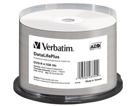 Verbatim 4.7GB DVD-R DataLifePlus Discs, 16x, Wide Inkjet Printable, 50 Pack Spindle