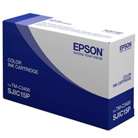 Epson SJIC15P 3 Colour Pigment Ink Cartridge (Cyan, Magenta, Yellow) for TM-C3400/TM-C610 Point of Sale Inkjet Label Printers
