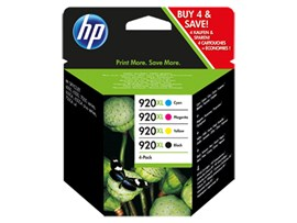 HP 920XL (Yield: 1,200 Black/700 Colour Pages) Black/Cyan/Magenta/Yellow Ink Cartridge Pack of 4