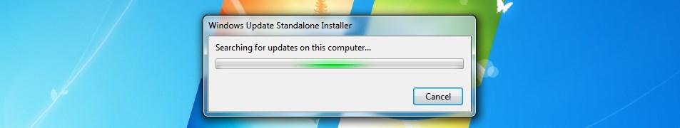windows update standalone installer keeps searching