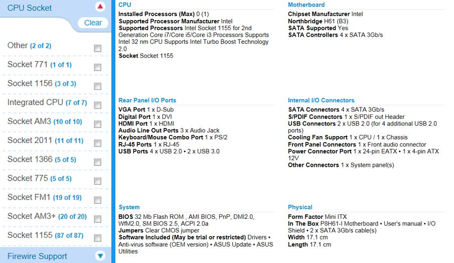Filter Based on CPU Socket Type (Left) - Motherboard Information (Right)