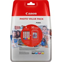 Canon CLI-571 BK/C/M/Y Ink Cartridge & Photo Paper Value Pack