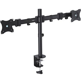 "VonHaus Double Arm Monitor Desk Mount Suitable for 13"""" to 27"""" Tilt and Swivel"