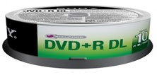 Sony DVD+R D.LAYER SPINDLE 10PCS .