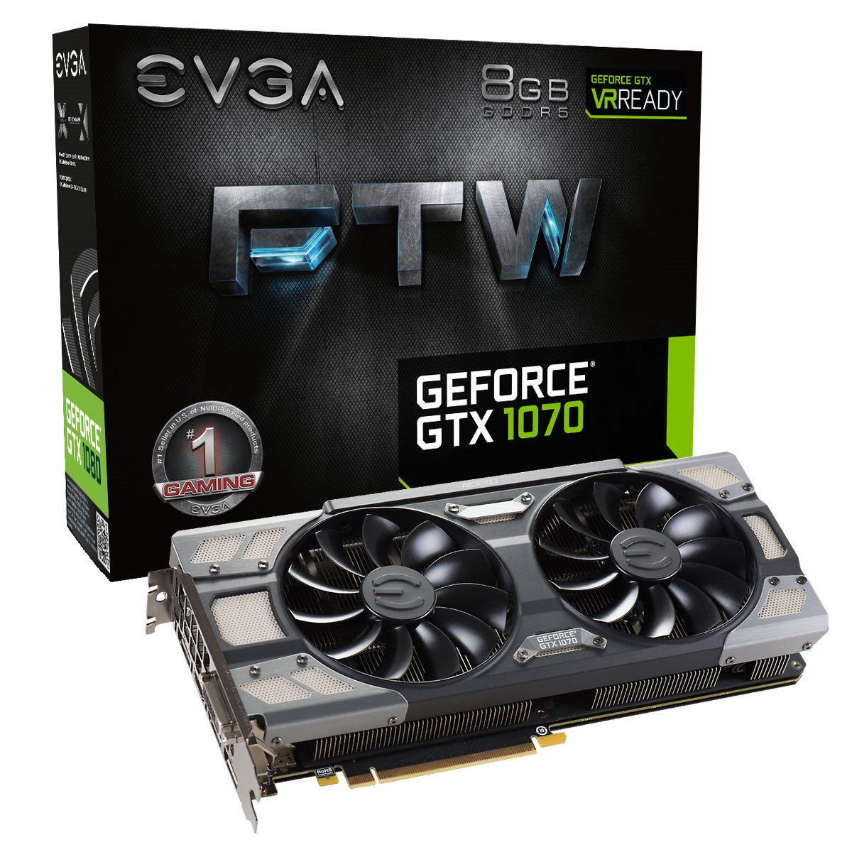 EVGA GeForce GTX 1070 8GB FTW GAMING ACX 3 0 Boost Graphics Card