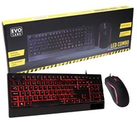 Evo Labs Combo 3 Colour LED USB Gaming Keyboard & Mouse Set