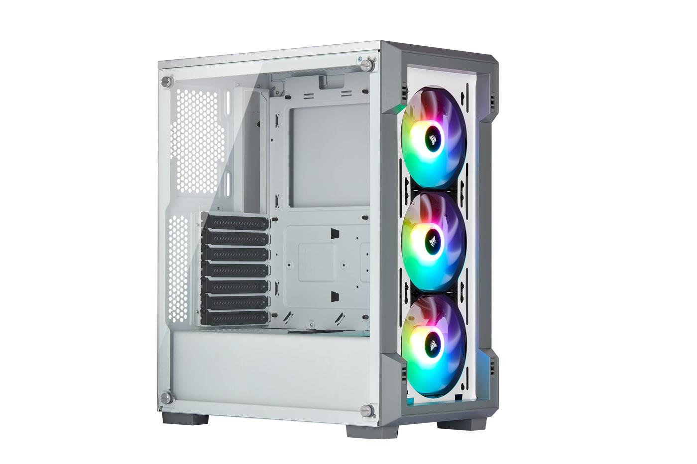 Corsair iCUE 220T RGB Airflow Mid Tower Gaming Case - White USB 3 0