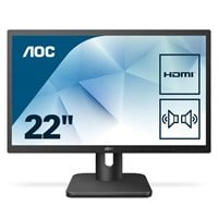AOC 22E1D 21.5 inch LED Monitor - Full HD, 2ms, Speakers, HDMI, DVI