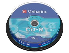 Verbatim 700MB CD-R Extra Protection Discs, 52x, 10 Pack Spindle