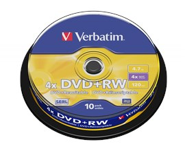 Verbatim 4.7GB DVD+RW Discs, 4x, 10 Pack Spindle