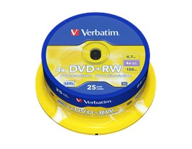 Verbatim 4.7GB DVD+RW Discs, 4x, 25 Pack Spindle
